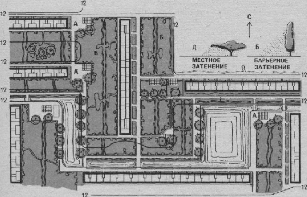 Инсоляционная карта составлена для Ашхабада на 12 ч дня (архит.Д. Масленников, инж. Гостинцева).