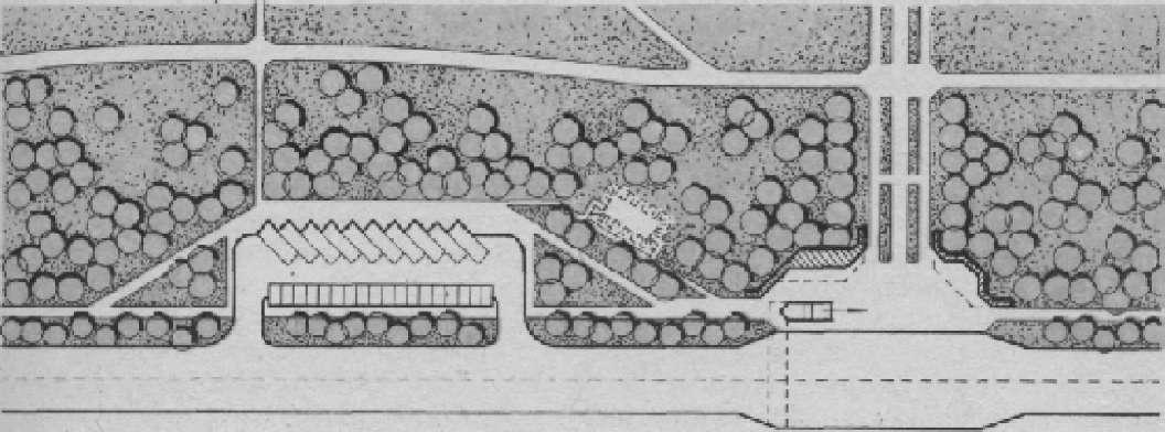Схема размещения границах периметральной автостоянки и входа в защитной полосы парка
