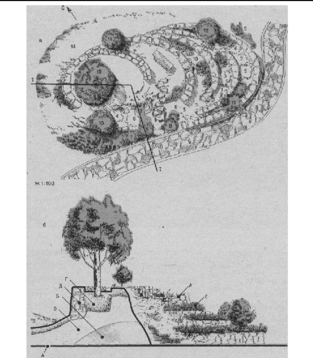 Подпорная стенка на искусственном рельефе (архитекторы Н. Титова и Р. Луспаронян)