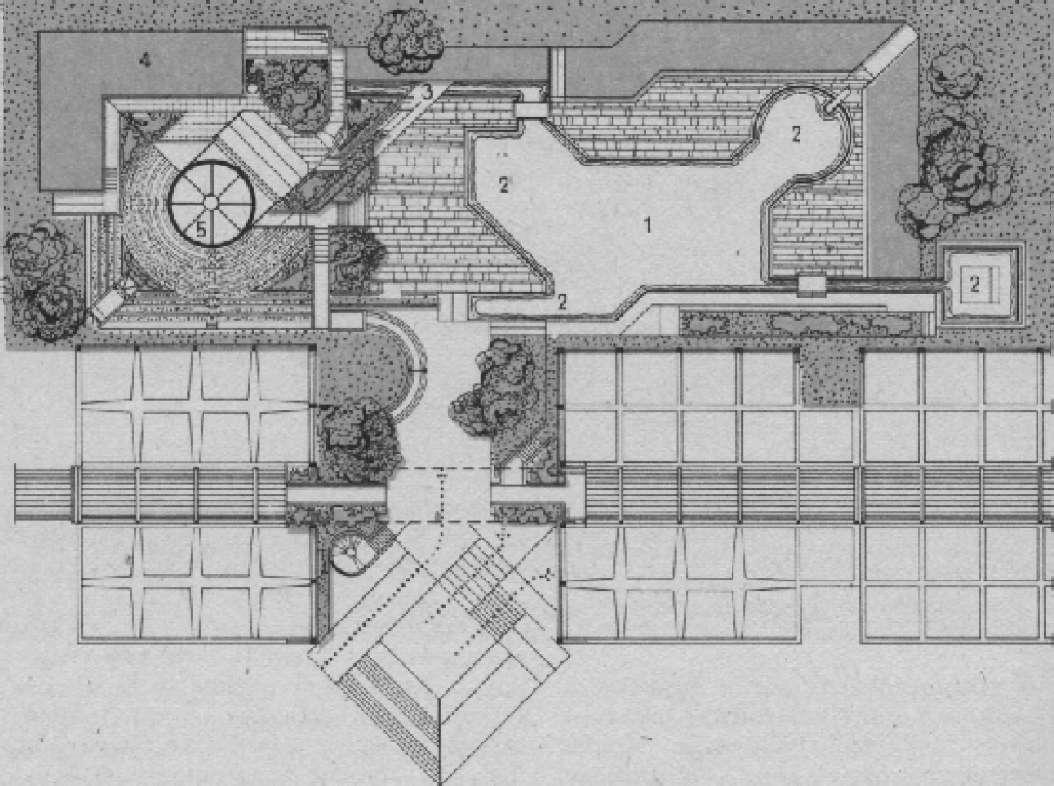 Бассейны в комплексе отдыха и туризма в г. Катандзоро (Италия). Архит. П. Порчианаи