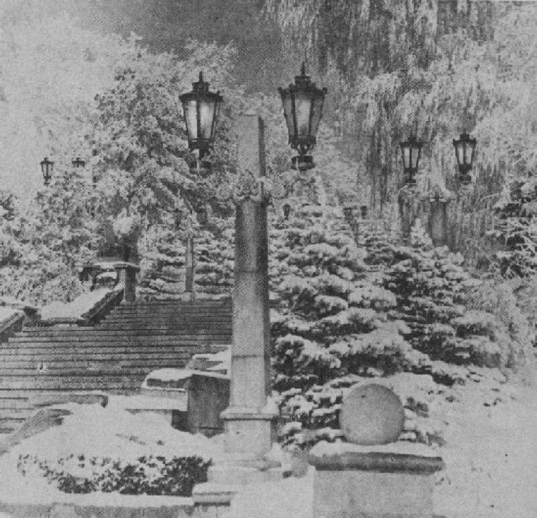 Светильники лестницы Комсомольской горки в Ставрополе