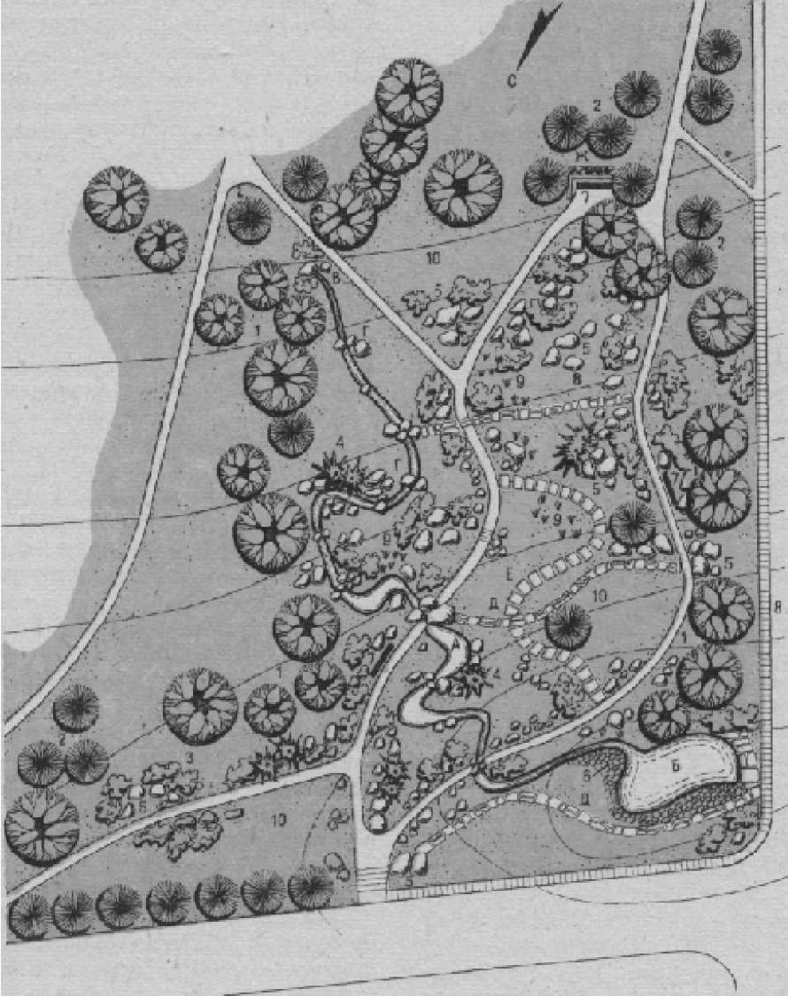 Рокарий Центрального сибирского ботанического сада (автор проекта — ст. инж.-дендролог Р. И. Дружинина)