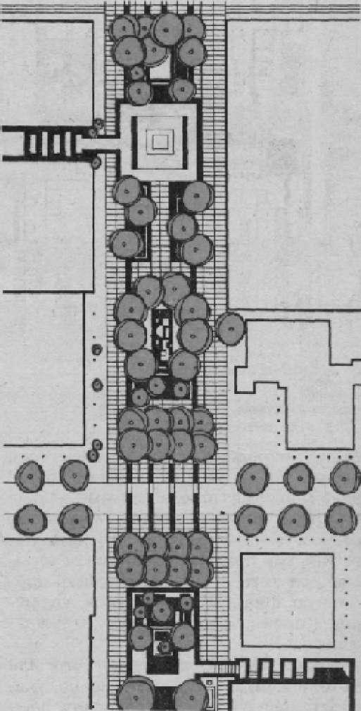 г. Ленсинг (США). Декоративное мощение и группа растений,расчленяющих пространство и пешеходной улицы