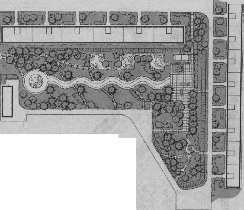 Пример озеленения участка жилого дома. Автор Т. И. Вольфтруб