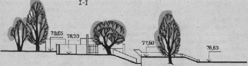 Комплексные игровые пространства одного из дворов жилого комплекса в г. Горьком. План и разрез