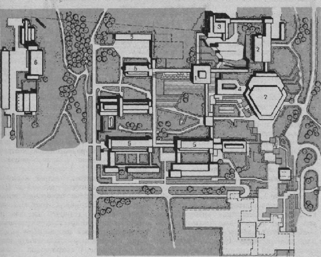 Генплан комплекса зданий Высшей технической школы в Цюрихе (первый этап строительства)
