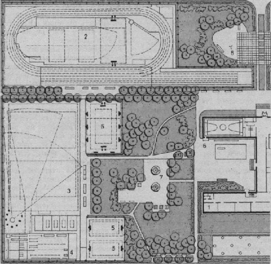 Озеленение спортивной зоны участка школы на 1280-1320 учащихся (проект ЦНИИП градостроительства, авторы Г. И. Луцкий и Я. А. Савина)