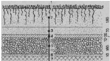 Конструкция газонного поля на водонепроницаемом основании (Центральная спортивная база Спорткомитета СССР близ Сухуми)