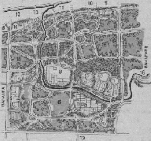 Схема планировки парка «Здоровье» на курорте Паланга в Литве