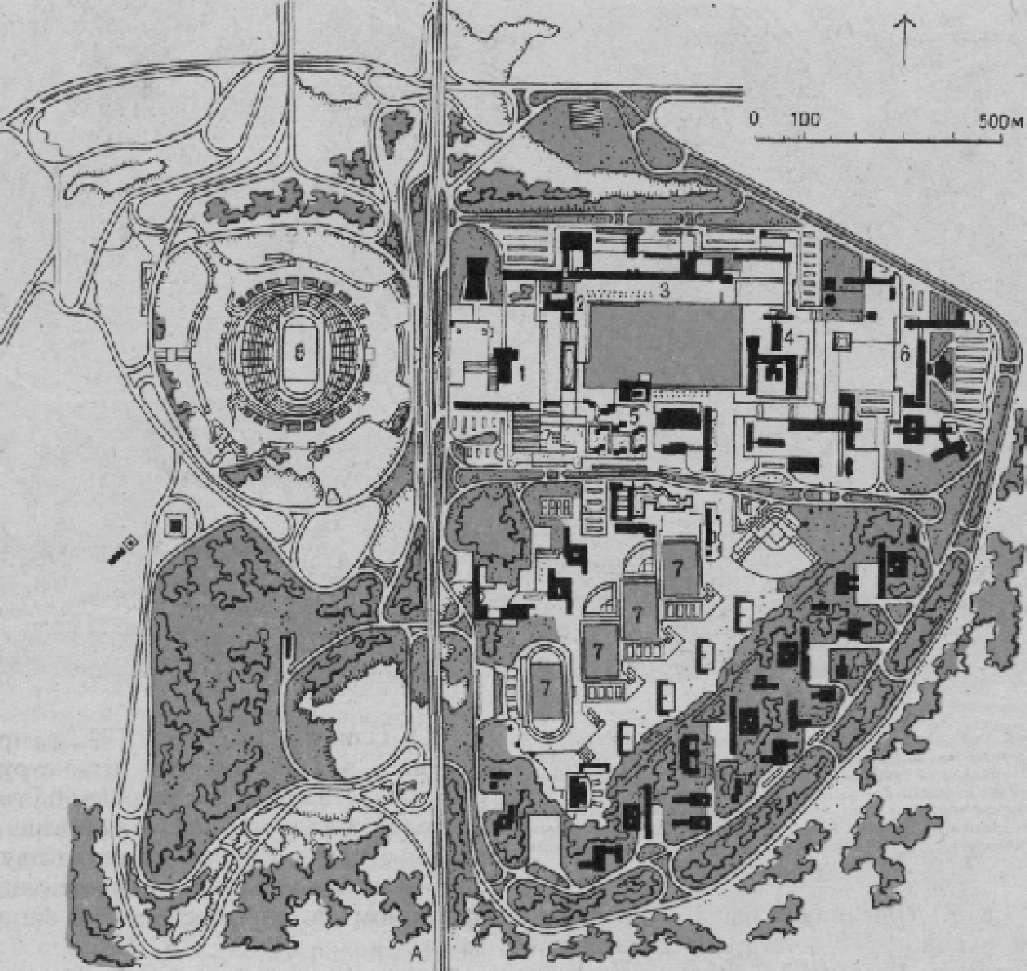 План университетского спортивного комплекса, расположенного к югу от Мехико