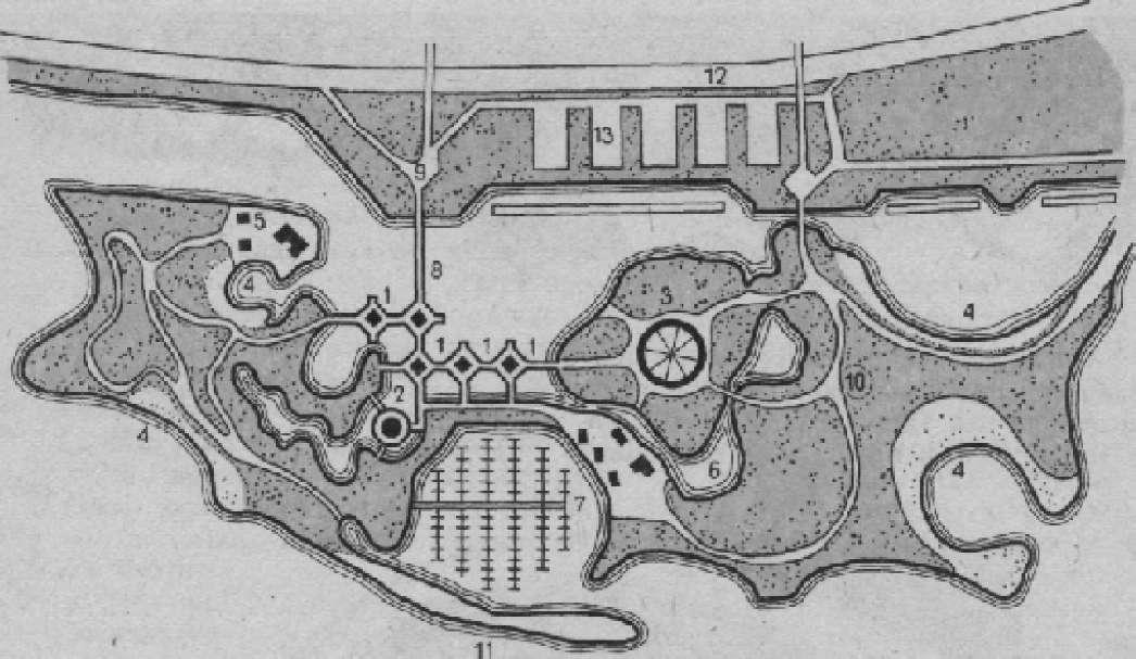 Схема планировки гидропарка в Торонто (Канада)