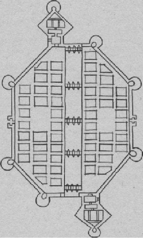 Франческо ди Джорджио. Город в форме многоугольника. Над каналом через равномерные промежутки перекинуты мосты
