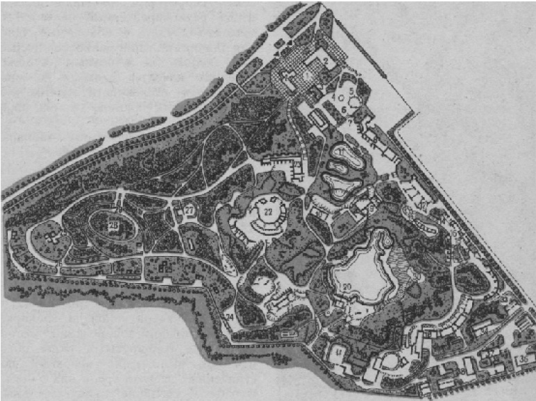 Схема генерального плана зоопарка в Свердловске