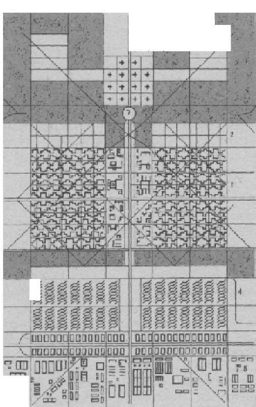 «Лучезарный город» Ле Корбюзье. Схема планировки (1933)