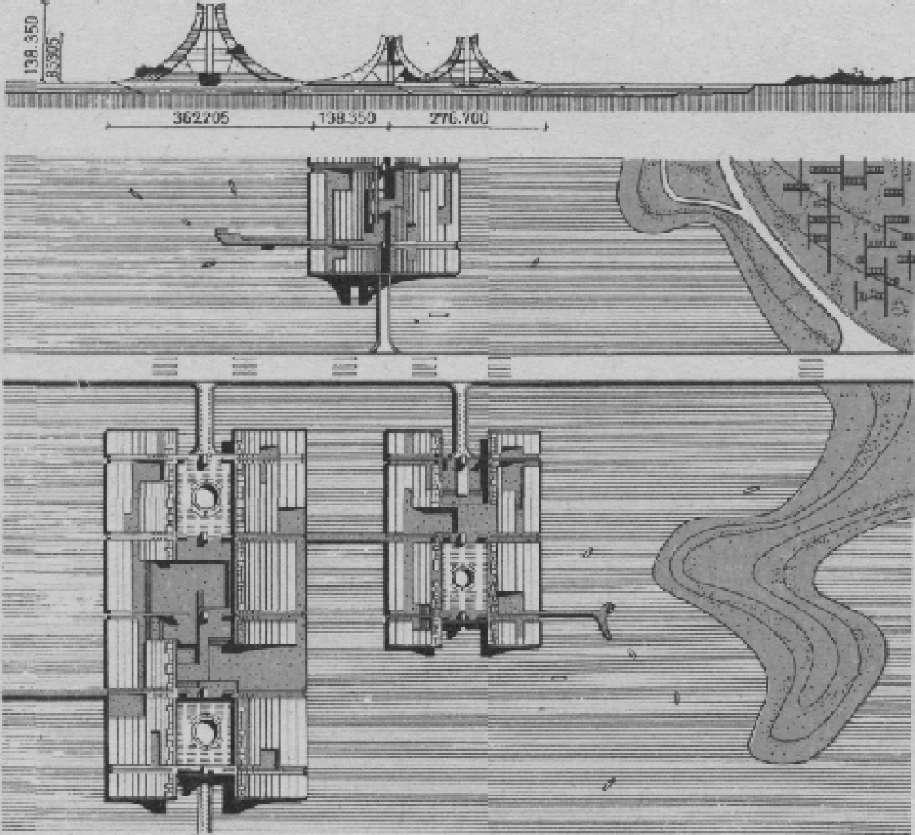 План и разрез жилого квартала города на акватории Токийского залива. Архит. Кензо Танге