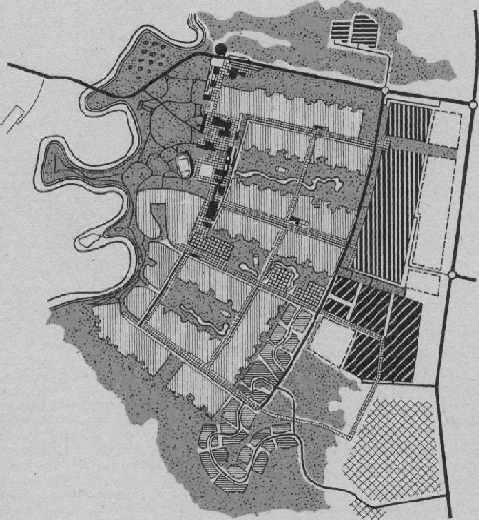 Функциональная организация малого города (население 10 тыс.жителей)