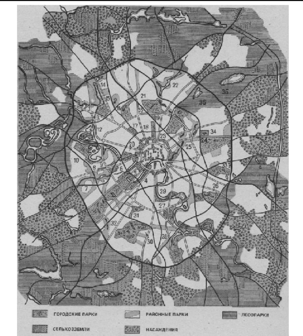 Схема зеленых насаждений Москвы