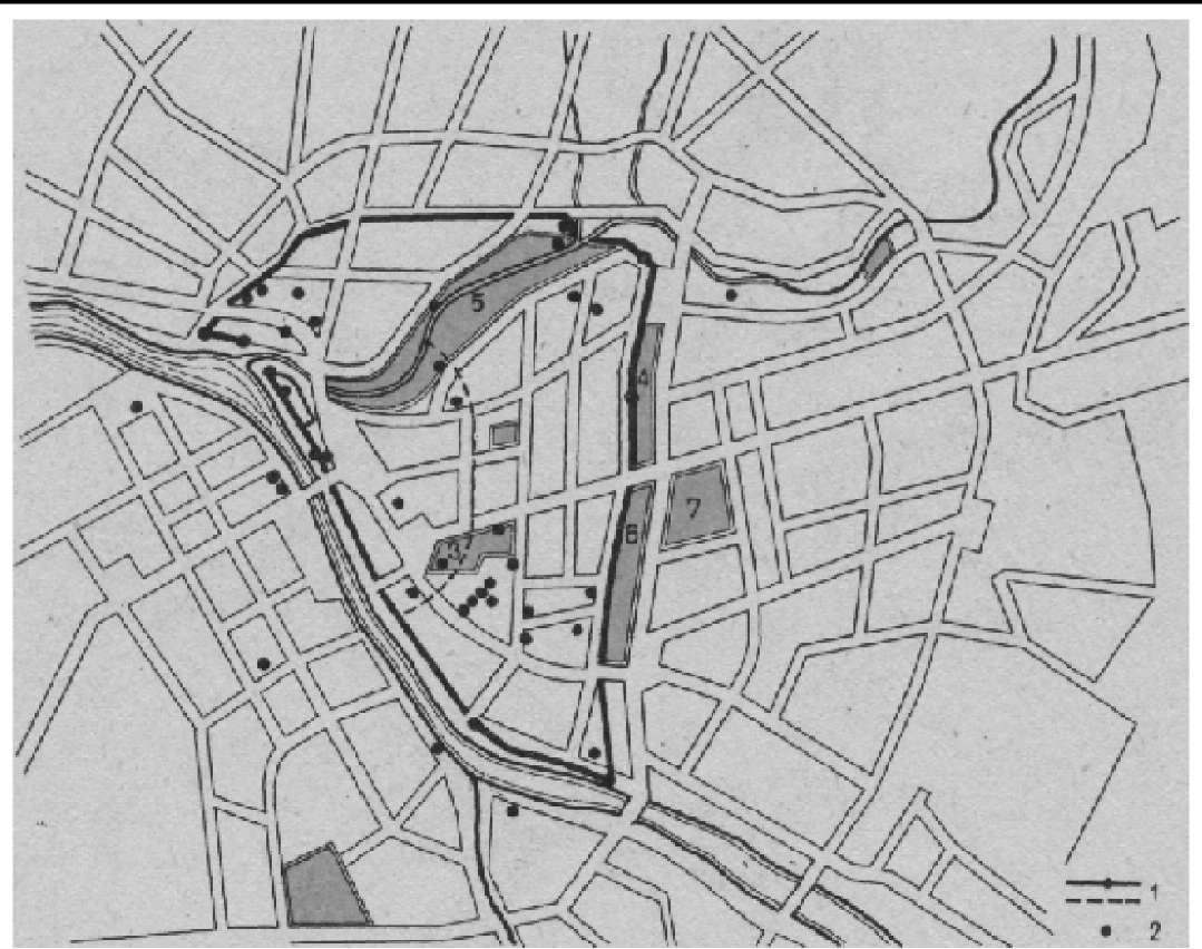 Схема зеленых насаждений Пскова